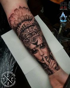 Warrior girl with lion and Indian headdress forearm tattoo. Done by myself – Art… Warrior girl with lion and Indian headdress forearm tattoo. Done by myself – Artist – Studio Loco tattoo Aus & Aurora Tattoo UK – Insta Wolf Girl Tattoos, Indian Girl Tattoos, Lion Forearm Tattoos, Girl Face Tattoo, Forarm Tattoos, Back Of Forearm Tattoo, Lion Back Tattoo, Calf Tattoo Men, Mens Lion Tattoo