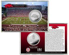 Arkansas Razorbacks Silver Coin Card - Stadium