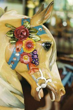 Carousel horse - San Francisco Zoo Carousel - Illions 2nd Row Jumper (Rosie), Head Close-up - Photo © Aaron Shepard