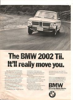 ORIGINAL VINTAGE 1972 BMW 2002 Tii AMERICAN ADVERT