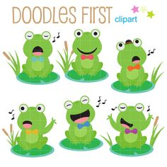 Singing Frogs Clip Art for Scrapbooking Card by DoodlesFirst
