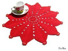 Red Christmas crochet star doily Handmade Christmas doily