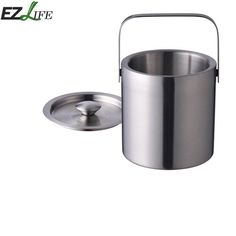EZLIFE Double Layer Stainless Steel Portable Ice Buckets Barware Kitchen Tools Wine Champagne Cooling Barrel LQZ0732