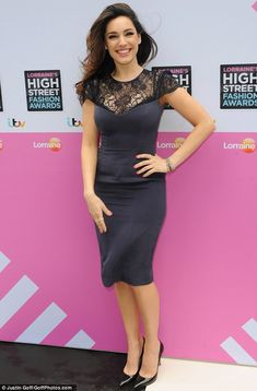 Effortless elegance: Kelly Brook opts for understated glam as she shows off her impressive curves in a midnight blue lace-detail pencil dress Pencil Dress, Peplum Dress, Navy Dress, Helen Flanagan, Kelly Brook, Girl With Curves, Tight Dresses, Blue Lace, Most Beautiful Women