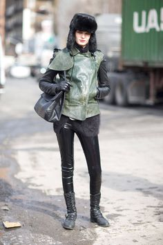 Amazing topper and liquid leggings prove a winning combo on this model in NYC.