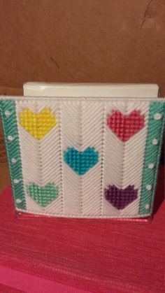 Plastic Canvas Coasters, Plastic Canvas Crafts, Plastic Canvas Patterns, Motifs Bargello, Bargello Patterns, Paper Plate Holders, Napkin Holders, Canvas And Cocktails, Crafts To Make