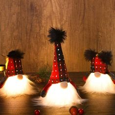 3 Pack Lighted Christmas Gnome, Handmade Plush Mini Scandinavian Swedish Tomte, Light Up Elf Toy Holiday Present, Battery Operated Winter Tabletop Christmas Decorations