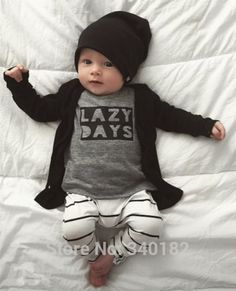 $7.98 2015 Autumn New Fashion baby boy clothes baby rompers Long sleeve letter T-shirt+ trousers 2/pcs newborn baby girls clothing set
