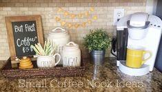 Small Coffee Nook Ideas #farmhousekitchen  #kitchenideas #decoratingideas #coffeebarideas