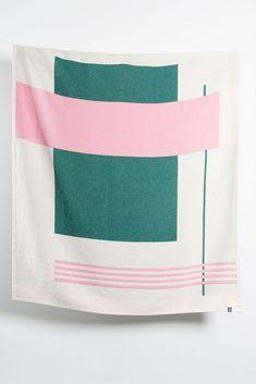 Zigzagzurich Modernista Artist Cotton Blankets / Throws By Michele Rondelli & Sophie Probst - Green Rose