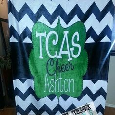 Personalized Cheer Blanket #rebelchickdesigns #personalized #monogrammed #cheer #dance #camp #custom #spirit #fan #all-star #chevron