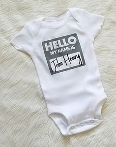 Personalized Infant Newborn Baby Hello My Name Is Bodysuit Outfit Baby & Toddler Clothing, Toddler Outfits, Boy Outfits, Newborn Coming Home Outfit, Baby Tie, Body Suit Outfits, Kids Boutique, Trendy Kids, Unique Baby