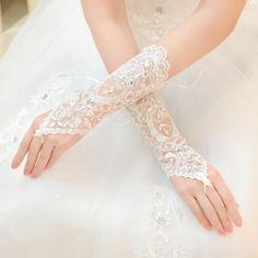 2017 Luxury Short Lace Bride Bridal Gloves Wedding Gloves Crystals Wedding Accessories Lace Gloves For Brides Fingerless Wrist Length Satin Elbow Length Gloves Satin Evening Gloves From Babyonline, $13.18  Dhgate.Com