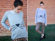 Alt Summit Wardrobe One Little Minute Blog Cat Face Sweatshirt Alt Handmade // Cool Cat Sweatshirt