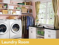 Organized laundry room with ample storage and workspace.