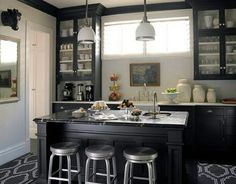 Pendant, floor, dark cabinets and see through shelving