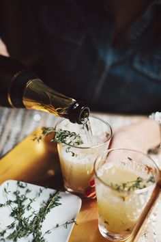 Pear Nectar and Thyme Mimosas
