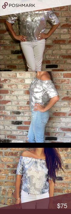 T&J Designs Silver Sequin Top Over the top silver sequin top! Fully lined, off the shoulder and amazing fit.  A must have! specially for the holidays to dress up or down. T&J Designs Tops