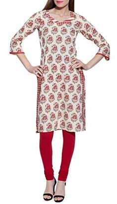 Indian Dresses For Women Printed Long Kurta Cotton WCLK381902Size38 InchRed *** Click on the image for additional details.