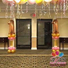1st Birthday Balloon Columns / Pillars #PartyWithBalloons