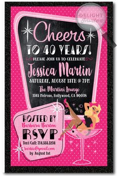 Pin Up Girl Rockabilly Birthday Party Invitations Printed For Girls Pink And Black Invites Cheers 40 Years