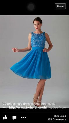 Knee length blue lace