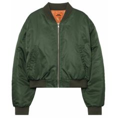Zip-Front Extended Sleeve Bomber Jacket (385 DKK) ❤ liked on Polyvore featuring outerwear, jackets, flight jacket, bunny jacket, green bomber jacket, layered jacket and checkered bomber jacket