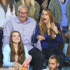 Sofia Vergara got animated while filming a Modern Family scene with Ed O'Neill in LA on Thursday.