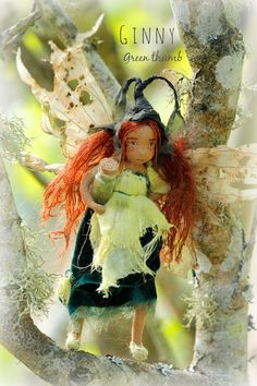 Ginny Green Thumb by Lavender and Lark OOAK fairy doll