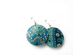 Blue handmade hoop earrings 100% recycled by VasariahCreations