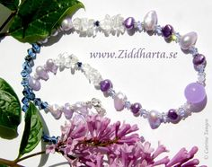 "CandyJade Necklace ""Violetta"" Freshwaterpearls and Swarovski Crystals Necklace - Handmade beaded Jewelry and Beading by Ziddharta by Ziddharta on Etsy"