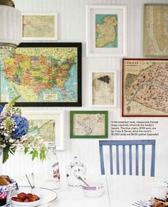 If you find any old atlases or maps, frame them to create a rustic gallery wall.
