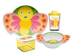 Friendly Faces New Zoo Butterfly Childrens 4 Piece Dinnerware Set