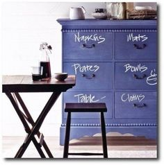DIY Chalkboard Decor// again, chalkboard paint is genius and can be used for pretty much everything Chalkboard Dresser, Diy Chalkboard Paint, Chalkboard Ideas, Chalkboard Paint Furniture, Chalkboard Walls, Chalkboard Drawings, Chalkboard Lettering, Do It Yourself Decoration, Do It Yourself Design