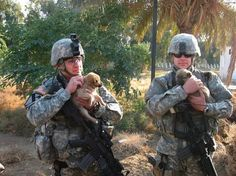 Soldiers with puppies :)