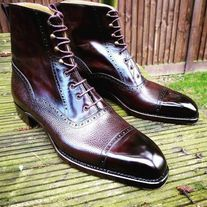 Handmade Men Two Tone Wingtip Cap Toe Boots Leather Boot, men ankle shoes sold by LeathersPlanet. Shop more products from LeathersPlanet on Storenvy, the home of independent small businesses all over the world. Ankle Shoes, Lace Up Shoes, Suede Shoes, Leather Shoes, Dress Shoes, Dress Lace, Cowhide Leather, Leather Men, Leather Jacket