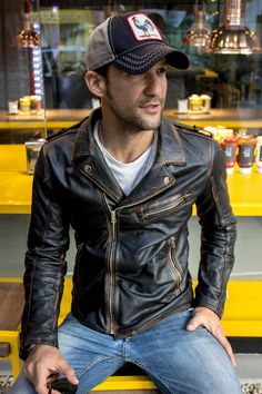 STONE Leather Jacket - Double zip in Washed Black – PDCollection Leatherwear - Online Shop Leather Jacket Outfits, Men's Leather Jacket, Vintage Leather Jacket, Leather Men, Leather Jackets, Distressed Leather Jacket, Leather Belts, Real Leather, Black Leather