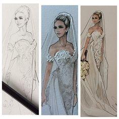 The progression of Olivia- Bride wears Steven Khalil- @ocapozzi @steven_khalil #revisit #bridalillustration For Illustration enquiry- please contact- karenorrillustration@gmail.com