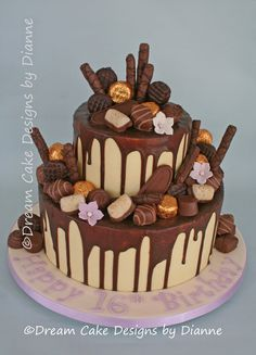 birthday ~ chocolate drip cake decorated with your favourite chocolates Chocolate Drip Cake, Birthday Chocolates, 16th Birthday, Birthday Cakes, Dream Cake, Drip Cakes, Celebration Cakes, Themed Cakes, Yummy Cakes