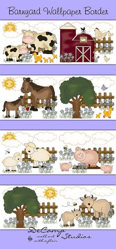 Barnyard Animals Wallpaper Border Wall Decals for Baby Girl Farm Nursery or Children's Room Decor. Cows, horses, pigs, sheep, goats, ducks, and chickens make up this adorable barnyard scene #decampstudios