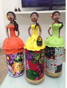 Your place to buy and sell all things handmade - Her Crochet Glass Bottle Crafts, Plastic Bottle Crafts, Plastic Bottles, Clay Crafts, Home Crafts, Diy And Crafts, Paper Mache Clay, Clay Art, Bottles And Jars