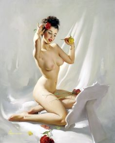 """Gil Elvgren - """"Perfection"""" 1948 - One of Elvgren's beautiful nude illustrations. Elvgren had such softness in the colors on this piece of art. Amazing curves as well and the title was perfect. Interesting to note the change in his style from the 1930's through the 1950's. Yellow Rose or a Red Rose?"""