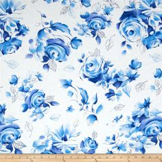 Michael Miller Blue & White Sharon Large Floral Azure from From Michael Miller, this cotton print fabric is perfect for quilting, apparel and home decor accents. Colors include shades of blue and white. Fabric Patterns, Flower Patterns, Blue Floral Wallpaper, Fabric Tree, Michael Miller Fabric, Blue Roses, Big Flowers, Fabric Painting, Floral Fabric