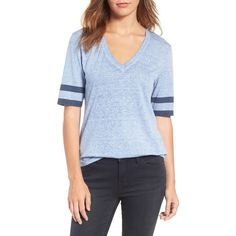 Women's Treasure&bond Sporty Tee ($55) ❤ liked on Polyvore featuring tops, t-shirts, blue colony combo, deep v neck t shirts, oversized t shirt, stripe tee, blue striped t shirt and blue t shirt