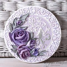 Evgenia Ermilova's photos Cold Porcelain Tutorial, Decoupage Plates, Cold Porcelain Flowers, Plaster Art, Sculpture Painting, 3d Wall Art, Clock Decor, Russian Art, Clay Art