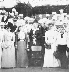 "Greek royal gathering including some closely related Romanovs~  Olga Konstantinovna,Elena Vladimirovna,Maria Georgievna, Mikhail Nikolaevich and Georgiy Mikhailovich.    ""AL"""