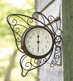 Double-Sided Metal Butterfly Clock With Temperature