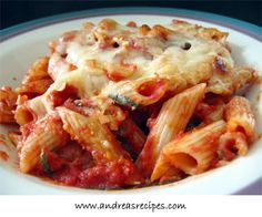 Baked pasta dishes are really enticing for us. We love how the sauce wraps around all of the pasta and how the cheese melts and gets stringy and a little brown on top. Mmmmm. This is a basic baked pasta dish that requires only a few ingredients. When we first tried it, we felt that the flavor was