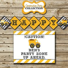 Dump Truck Construction Birthday Party Pack: printable invitation, thank you, banner, sign, party circles, favor tags, food/drink labels on Etsy, $35.00