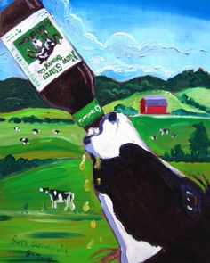 Beer Painting of Spotted Cow Ale by New Glarus Brewing Company. Year of Beer Paintings - Day Farm Humor, Beer Humor, New Glarus, Beer Decorations, Craft Beer Gifts, Farm Paintings, Beer Poster, Beer Pictures, Beer Art